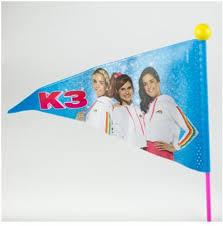 Merkloos K3 Fietsvlag roze/geel