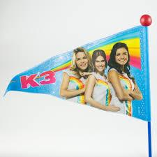 Merkloos K3 Fietsvlag blauw/rood