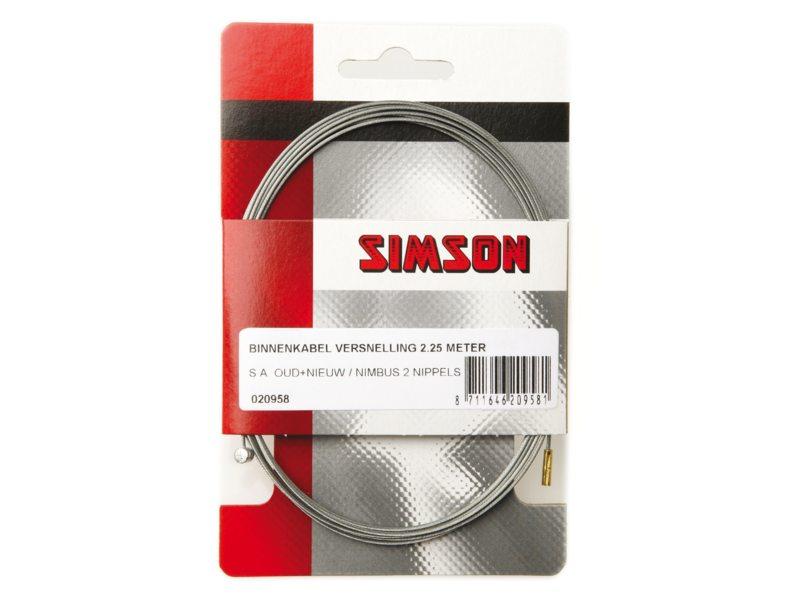 Simson Binnenkabel versnelling 2.25m S.A. oud + nieuw/Gazelle 2 nippels
