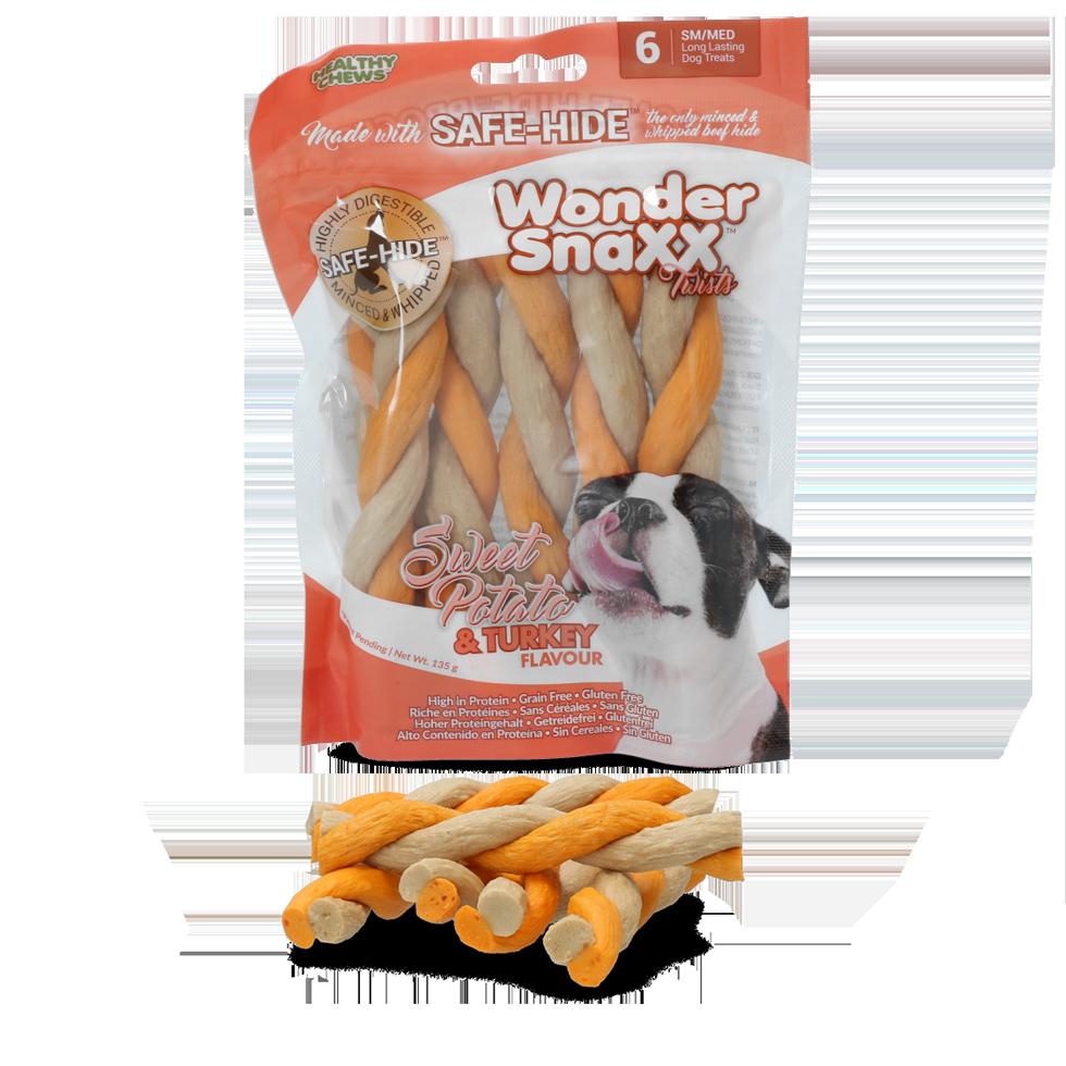 Healthy chews Wonder Snaxx Twists zoete aardappel en kalkoen