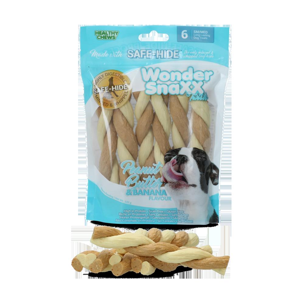 Healthy chews Wonder Snaxx Twists pinda en banaan